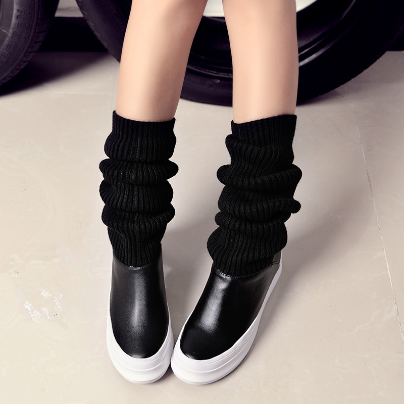 ФОТО ENMAYER Black Full Grain Leather boots for women Knee-High Round Toe Winter boots Elasticity Thin girl Motorcycle Boots new