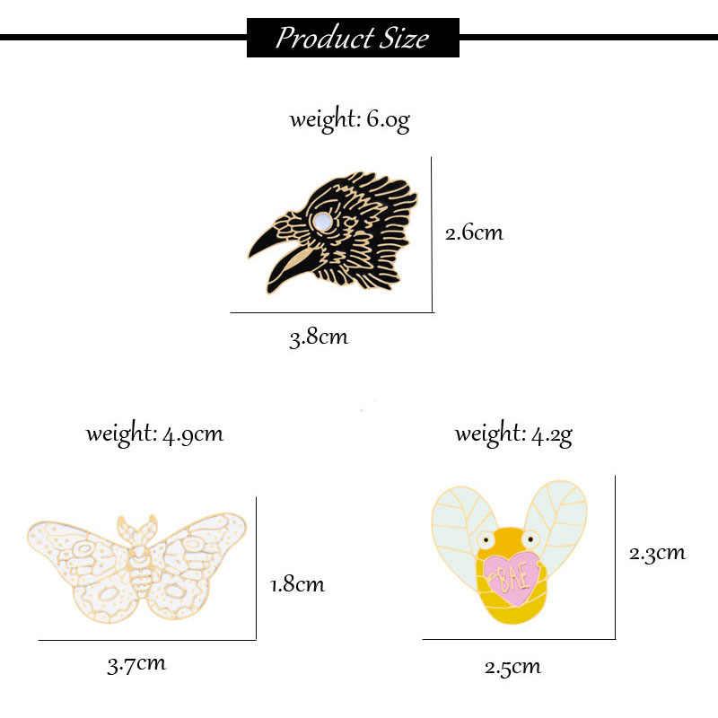 Baru Lucu Hewan Bros Fashion Wanita Kupu-kupu Capung Eagle Enamel Pin Sweater Jaket Anak Ransel Perhiasan Dekorasi