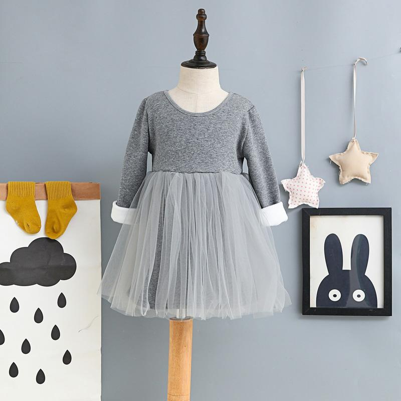Long Sleeve Baby Kids Dresses for Girls Thick Warm Winter Girls Dress New Casual Gray Black Children Princess Clothing girls dress winter 2016 new children clothing girls long sleeved dress 2 piece knitted dress kids tutu dress for girls costumes