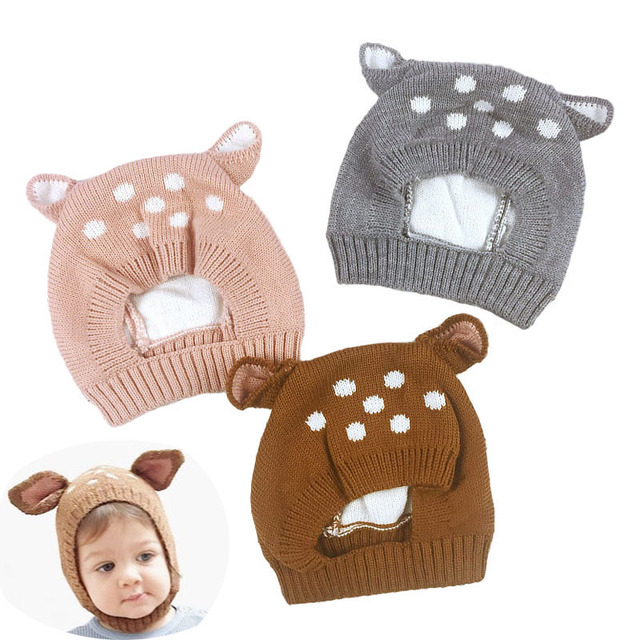 29e902a5e57 Cartoon Deer Baby Hat With Ears Winter Warm Knitting Boys Girls Beanie Kids  Hooded Scarf Earflap Knitted Cap