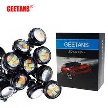 GEETANS 10 шт. DRL Поворотный Светильник s светодиодный орлиный глаз дневной ходовой светильник IP65 Водонепроницаемый автомобильные аксессуары 12 В Универсальный Белый в желтый