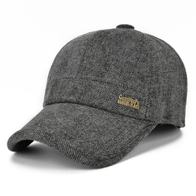 Autumn Winter Keep Warm Snapback Bone Men Women Baseball Caps Hats Cap Simple Color Black Grey Woolen