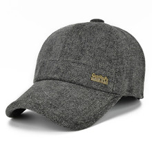 Adjustable Size Winter Hats For Men Simple Woolen Warm Baseball Caps Thickened Ear Hooded Male Bone Dads Hat Casual Tongue Cap