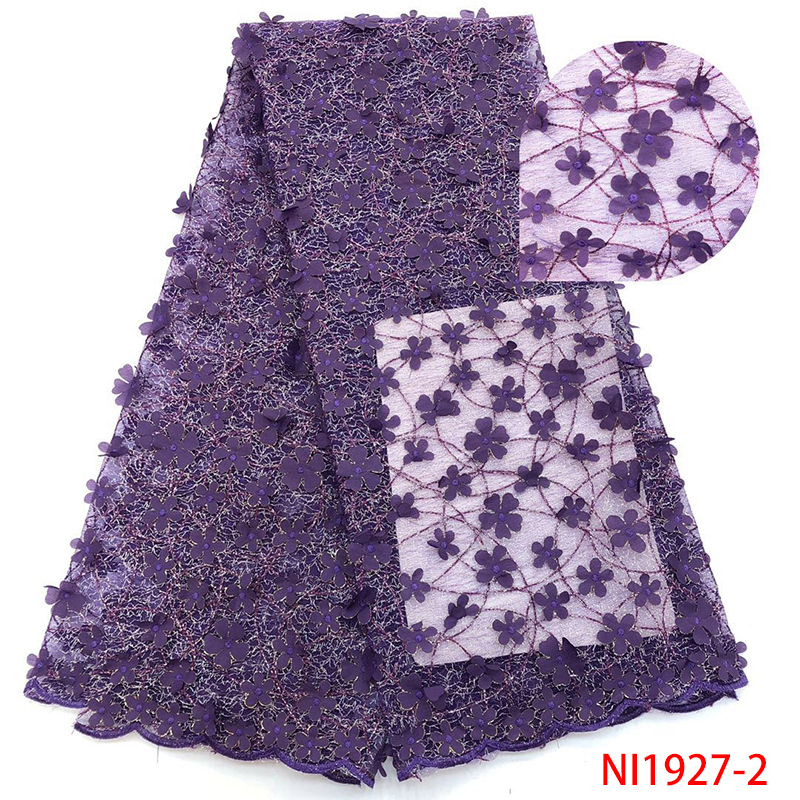 2018 Nigerian Lace Fabric High Quality African 3D Applique Lace Fabric French Tulle Net Laces For Women White  KSNI1927-2