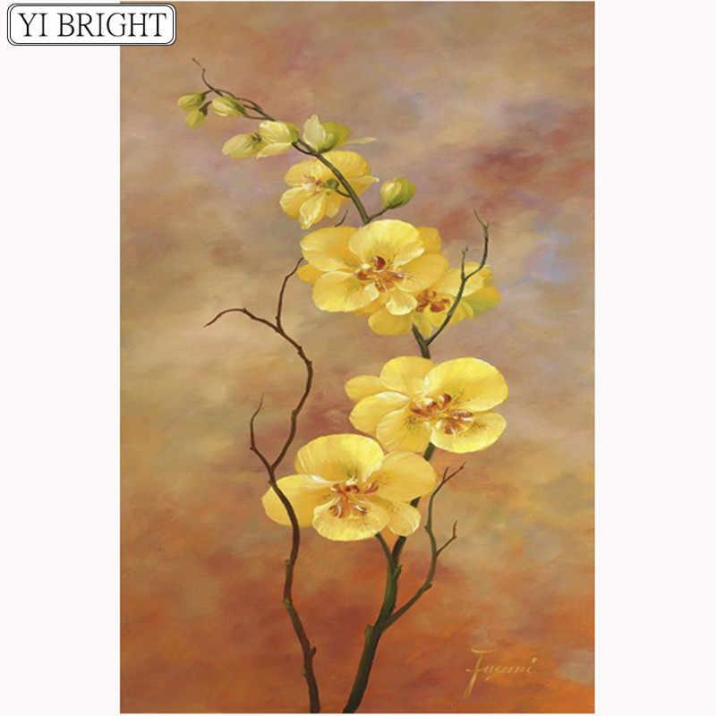 Elmas nakış, orkide, 5D, elmas boyama, çiçek, DIY, çapraz dikiş, kristal, mozaik, yuvarlak taklidi, ev dekorasyon, el sanatları LK1