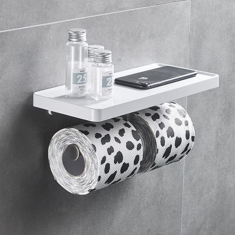 FLG Wall Mounted Toilet Paper Holder Stainless Steel Double Rolls Paper Phone Stand Wall Holder Bathroom White ABS Shelf in Paper Holders from Home Improvement