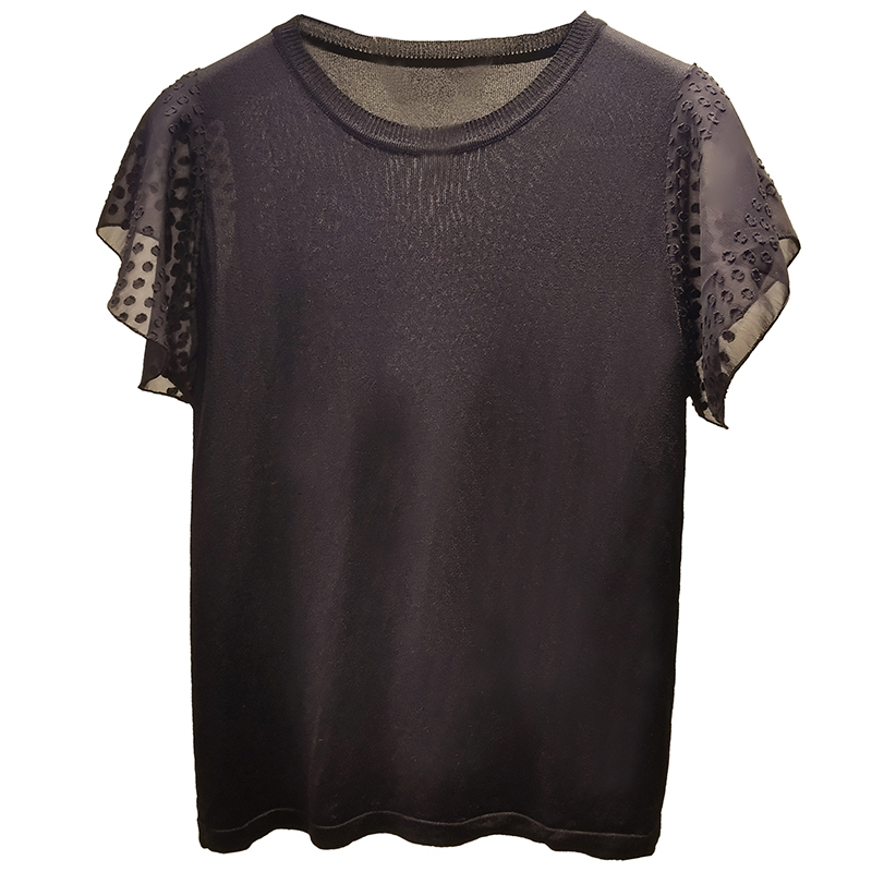 Été femmes tricoté T-shirt fille extensible solide noir blanc t-shirts tricots femme 2019 coréen élégant Ruffules hauts AA020S50