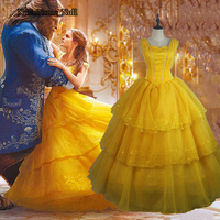 Beauty And The Beast 2017 Movie Cosplay Dress Princess Belle Prom Dress With Petticoat Evening Party