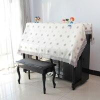 Jardim algodão e linho piano pequena árvore pequena flor padrão piano toalha de cobertura com laço poeira decoração