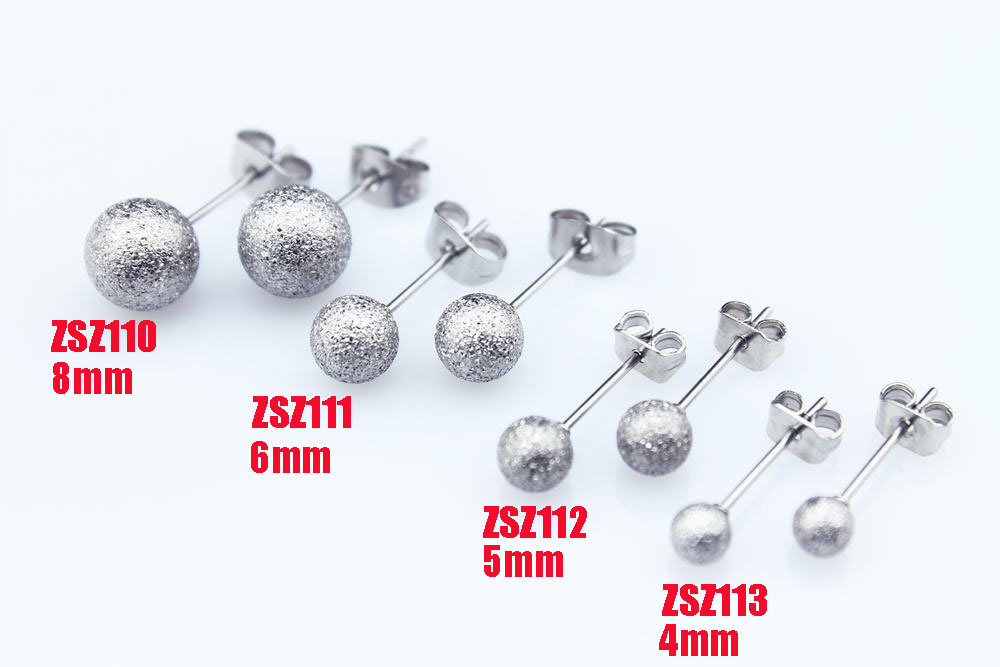 buy stainless steel ear stud 4mm 5mm 6mm 8mm ball beads fashion earring 10pair. Black Bedroom Furniture Sets. Home Design Ideas