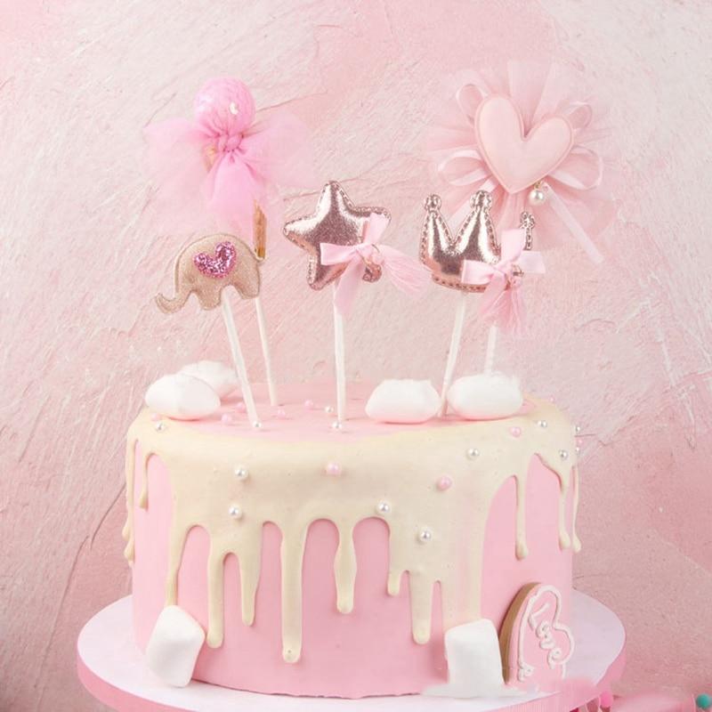 1 pcs new crown star heart cake topper birthday cake decoration baby shower kids birthday party wedding favor supplies
