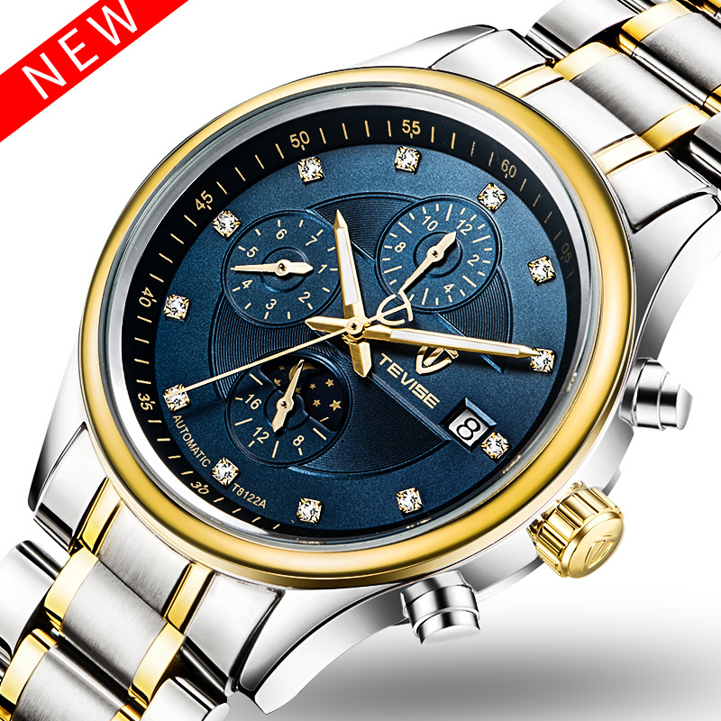 Casual WatchTevise Men's Day/Month Moonphase Auto Mechanical Watches Wristwatch Gift Box Free Ship 2016forsining luxury relogio masculino men s day week tourbillion auto mechanical watches wristwatches gift box free ship