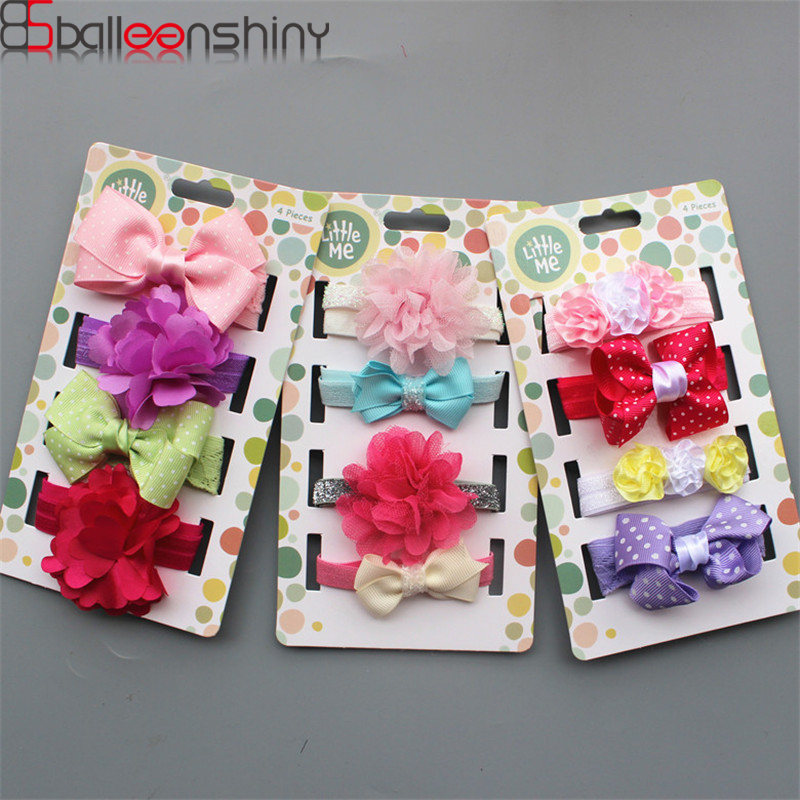 BalleenShiny 4Pcs/set Cute Baby Girls Elastic Hairband Toddler Rabbit Bowknot Headband Kids Princesses Headwear Accessories