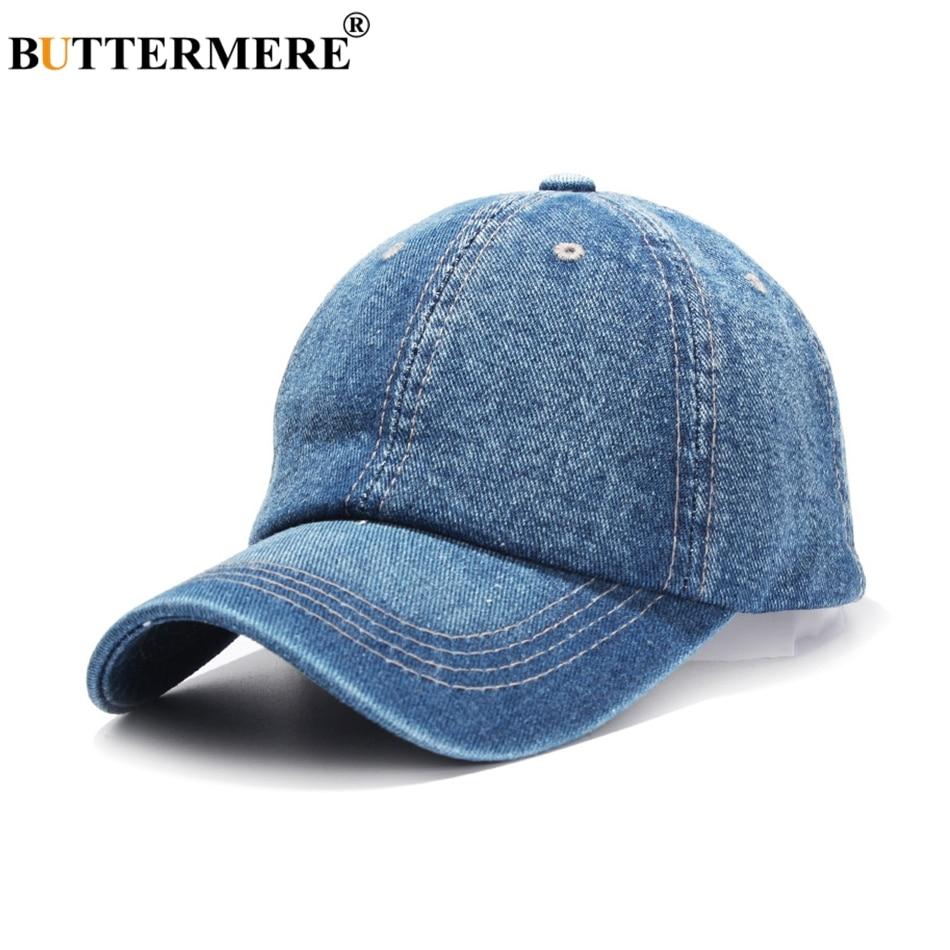 2eeffb5e107 BUTTERMERE Denim Baseball Cap For Men Blue Casual Dad Hats Women Adjustable  Jeans Vintage Autumn Solid