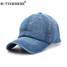 BUTTERMERE Denim Baseball Cap For Men Blue Casual Dad Hats Women Adjustable Jeans Vintage Autumn Solid Uv Sun Caps Male 2019(China)