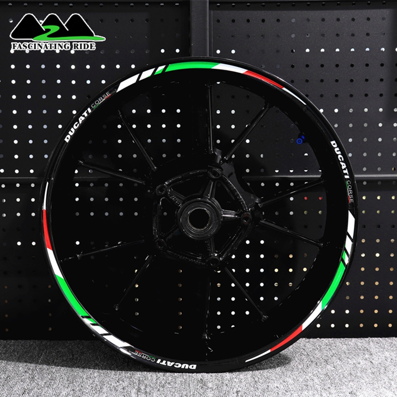 Applicable To Ducati 696/821/848/899/1199/1299 Motorcycle Waterproof Reflective Sticker Refitting Personalized 17-inch Wheel
