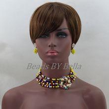 Precioso amarillo multicolor chunky crystal choker collar mujeres abl364 regalo del partido perlas joyería africana fija el envío libre