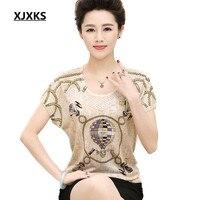 XJXKS 2018 New Womens Summer t shirt Loose Plus Size Fashion Diamond Printed Round Neck Bat Sleeves High Quality Women's T shirt