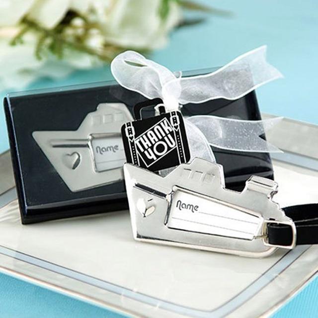 16pcslot beach themed wedding favors bridal shower cruise ship luggage tag chrome baggage tag