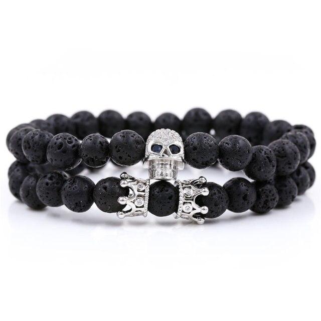 Bracelets assortis couple noir crâne et couronne