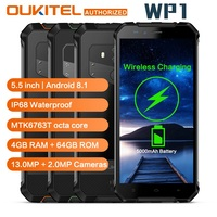 OUKITEL WP1 IP68 Waterproof Wireless Charging Mobile Phone 5.5 inch Android 8.1 Octa Core 4GB RAM 64GB ROM 5000mAh 4G Smartphone