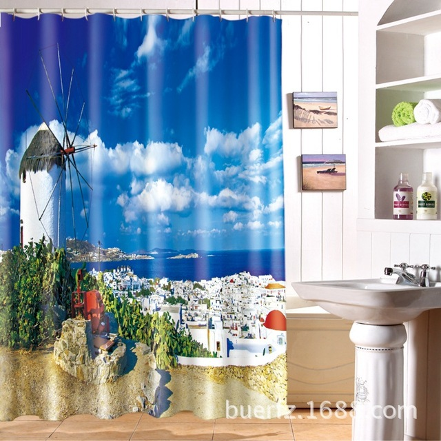 Sea view houses 3D printing partition waterproof personality shower ...