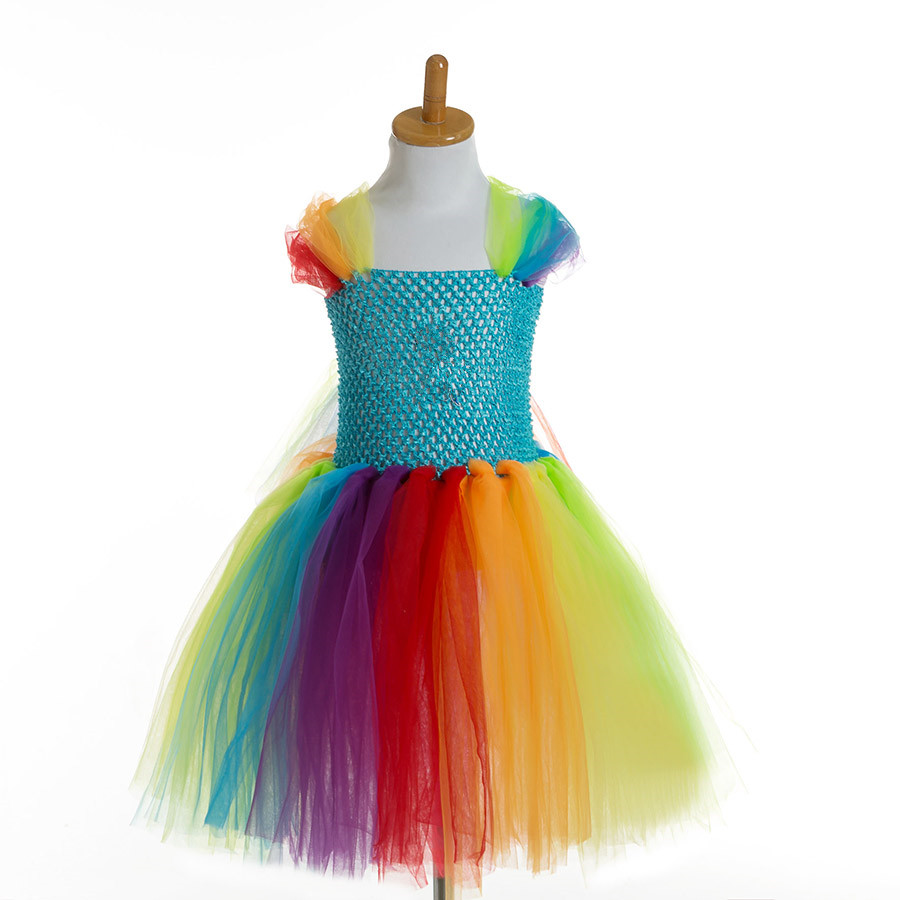 Rainbow Pony Unicorn Baby Girls Tutu Dress Princess Children Kids Cartoon Party Birthday Tulle Dress Girls Halloween Costume baby girls dress 2016 brand new girls princess dress children s birthday party sequined dress pink tutu kids free shipping