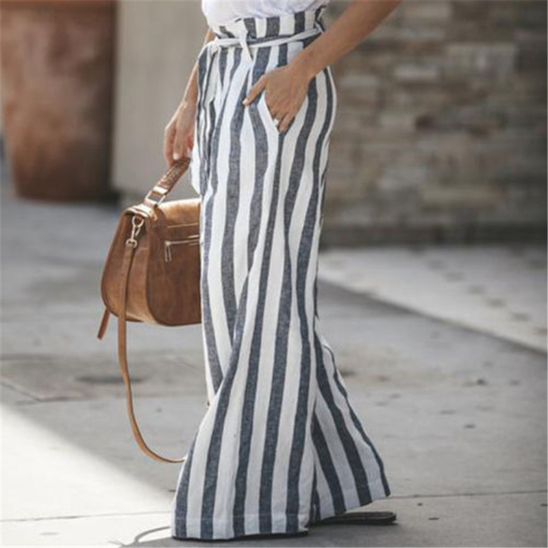 Fashion Women 'S Loose High Waist   Pants   Hot Women Summer Causal Stripped   Wide   -Legged   Pants   New Stylish Ladies   Wide     Leg     Pants