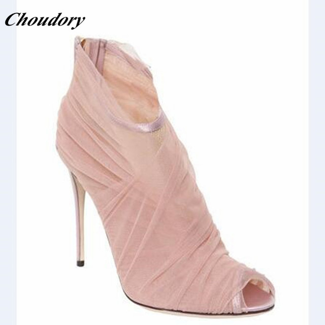 Choudory Estilo Pink Mesh Mujeres Sexy Botines Peep Toe trasero de la  Cremallera Zapatos de Las 5e8973d3dba0