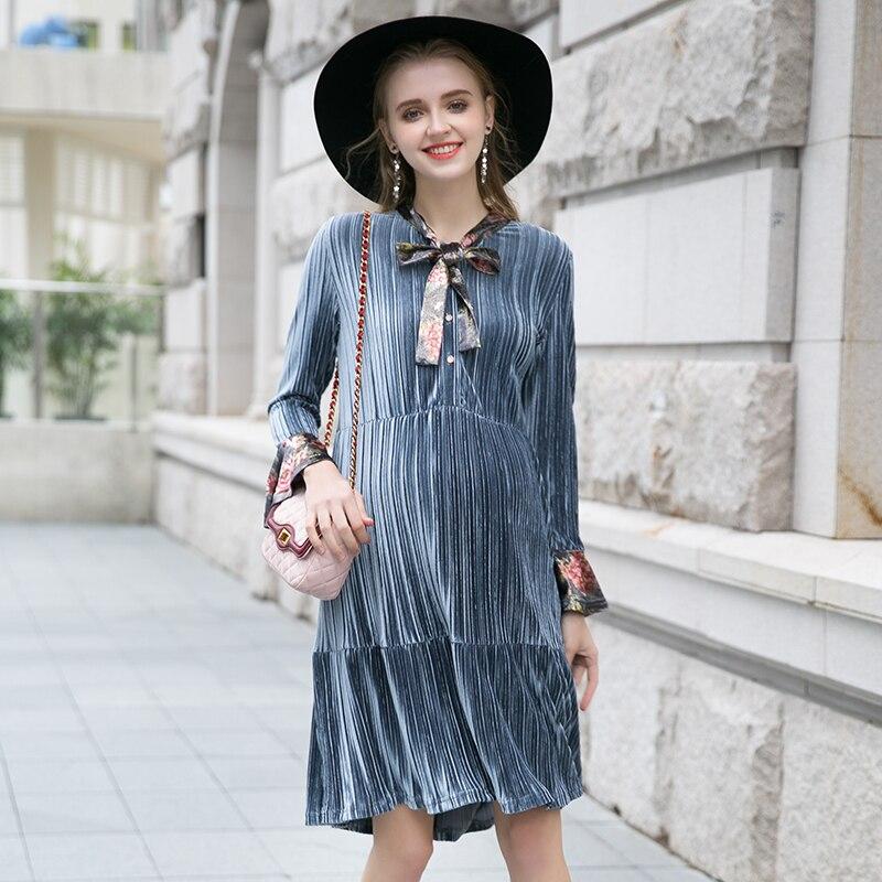 Maternity wear autumn bow round neck long-sleeved shirt fashion autumn and winter long velvet wrinkled maternity dress