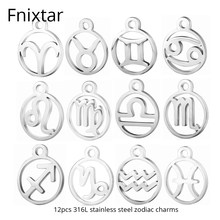 Fnixtar New Stainless Steel 12 Zodiac Metal Charms DIY Constellation For Women Bracelet Making DIY Handmade Mini Charm 12pcs/lot(China)
