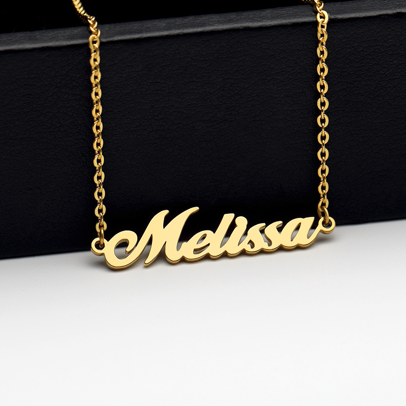 Custom Name Necklaces For Women Girl Fashion Personalized Stainless Steel Engraved Charms Gold Chain Necklace BFF Jewelry Gift