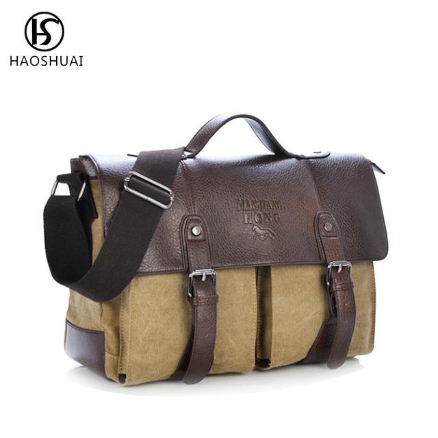 Men Vintage Canvas Messenger Bag Crazy Horse Leather Shoulder Bag Fashion  Casual Laptop Handbag Crossbody Military Flap Bag New 86a708bf2ba7f