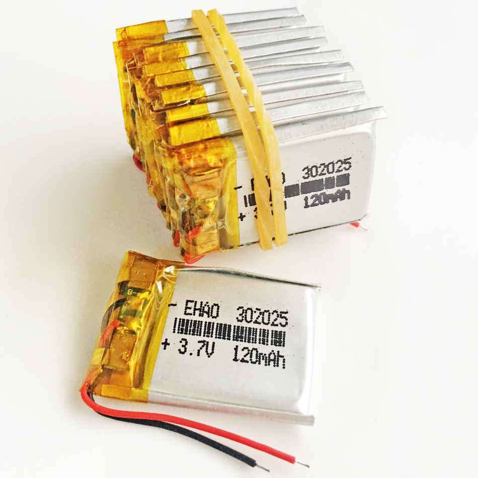 Lot 10 pcs 3.7V 120mAh Lithium Polymer LiPo Rechargeable Battery For Mp3 GPS PSP bluetooth headphone headset smart watch <font><b>302025</b></font> image