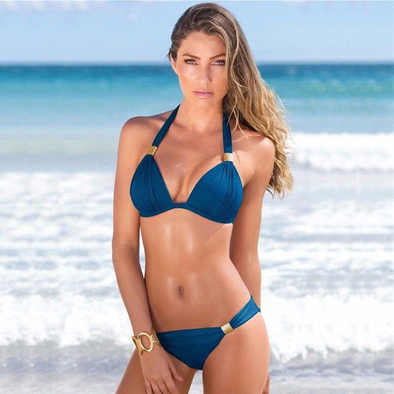 Bikini Set Sexy Halter Top Swimsuit 2019 Vintage Retro Women Swimwear New Bathing Suits Push Up Beachwear Patchwork Bikini Set