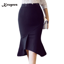 New Arrival 2018 Hot Fashion Black Trumpet Skirt Women Vintage Slim Sexy Pencil Skirt Female Skirts with Ruffles plus size S-5XL