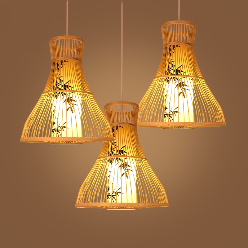 Chandelier Chinese bamboo restaurant creative bamboo light corridor lights Southeast Asia wooden lamps ZA627 ZL125 chinese style wooden 1 2 3 heads lamps chinese restaurant new classical restaurant chandelier wooden sheepskin chandelier