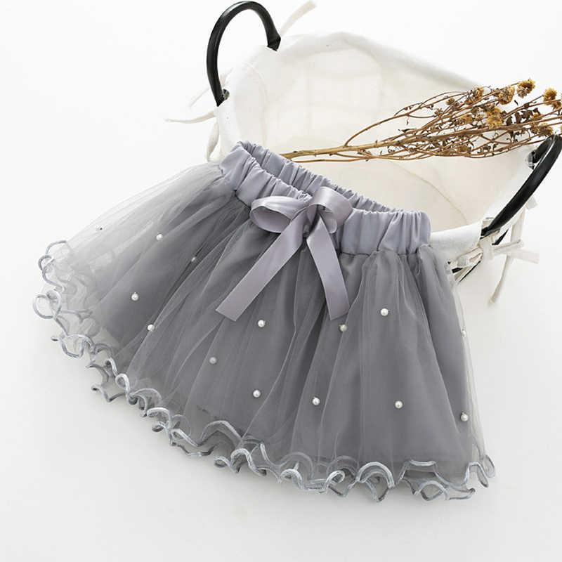 2019 niñas pettiskirt faldas de tutú de bebé 5 infantes pastel corto falda perla niños princesa ondulada Rosa tul abultado faldas