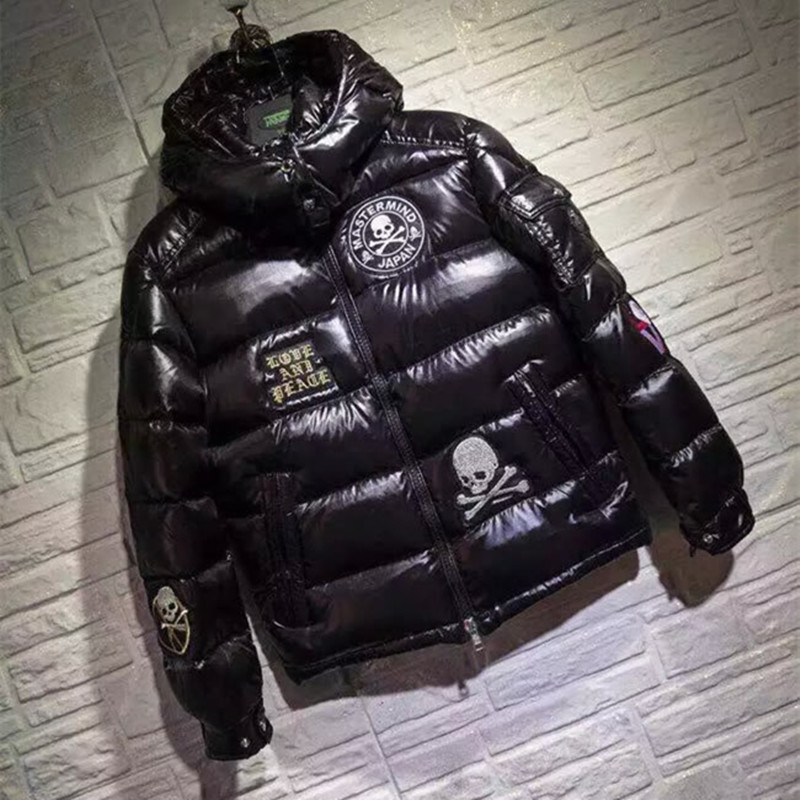 Winter Thicker Mens & Boys Jackets with Hooded 90% White Duck Down Coats with Skull Embroidery Zipper Warm Outwear Black Sale