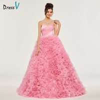 Dressv Ball Gown Puffy Sweetheart Quinceanera Dress Organza Princess Lace Rufflues Sweet 16 Dress Vestidos De