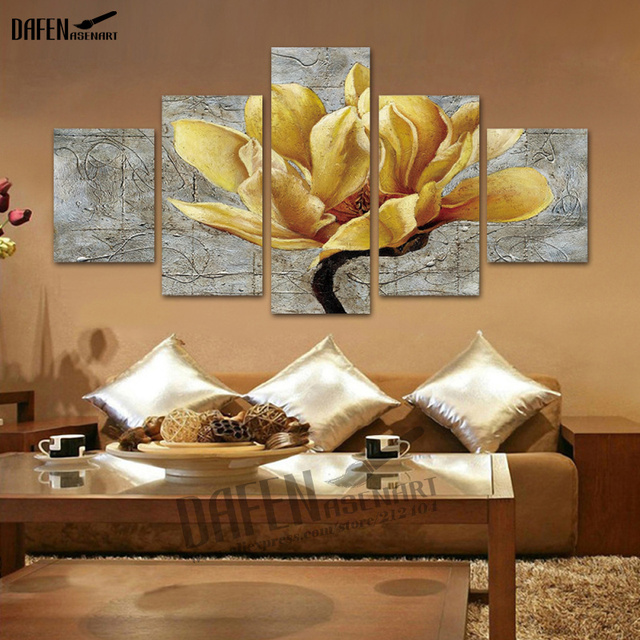 5 panel canvas art gold orchid flower canvas print paintings home decoration framed ready to hang