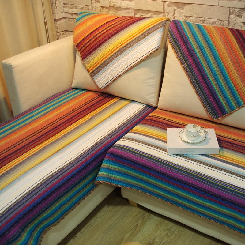 Диван подушки ткань подушки простой современный Нескользящие хлопчатобумажные ткачество полосатый диван крышка