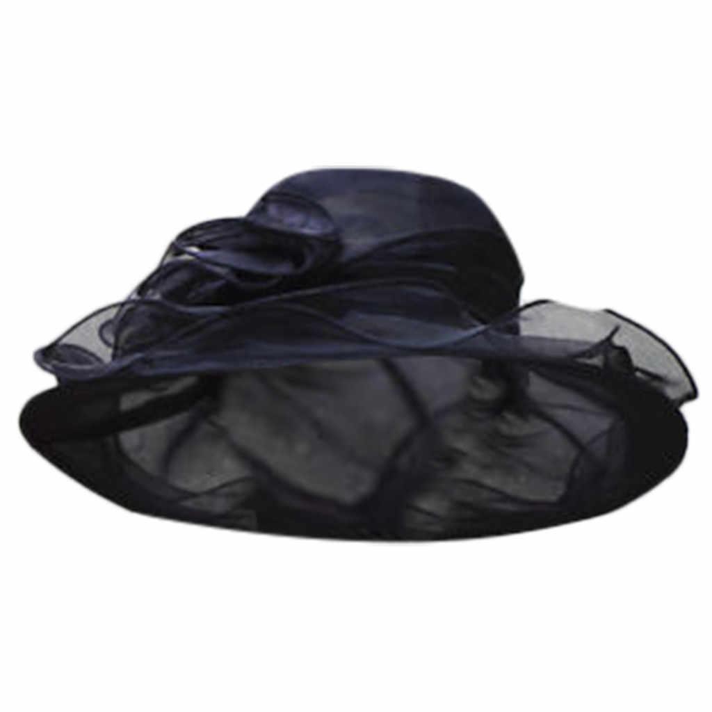 Women Kentucky Derby Wide Brim Wedding Church Occasional Organza Sun Hat 2019 Hot Sale Chapeau Paille Femme