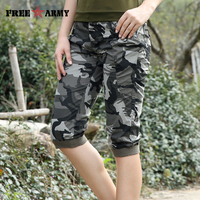 Freearmy Brand New Fashion Summer Style Knee-Length Short Trousers Women's Military Style Camouflage Ladies Short Pants  Cotton