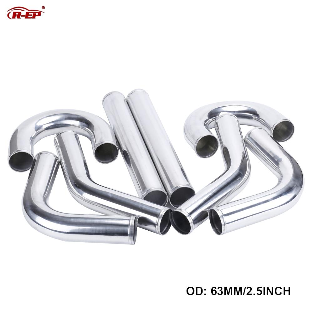 R-EP Universal 2.5inch Aluminum Tube 63mm Air Intake Pipe For Racing Car Intercooler Air Intake 0/45/90/180 Degrees L S Type