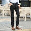 2016 New Autumn Korean Style Men's Casual Pant Flower Print Waist Full Slim Fit Black Suit Pant Business Dress Pant Cheap Male