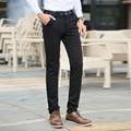 2016 Nuevo Otoño Coreano Del Estilo Ocasional de Los Hombres Pantalón Estampado de Flores de La Cintura completo Slim Fit Negro Vestido de Traje de Pantalón de Negocios Pantalón Masculino Barato