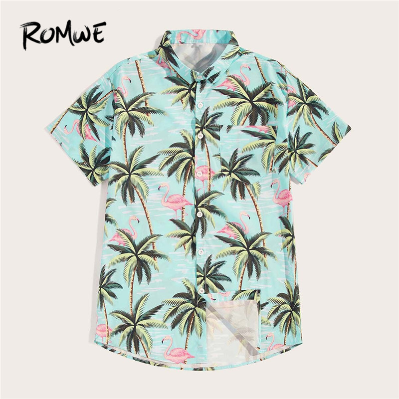 ROMWE Mens Tropical Flamingo Print Single Button Casual Shirts Male Turquoise Short Sleeve Beach Vacation Summer Shirts