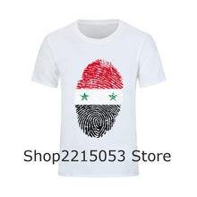 07343507d942 Syria Flag Fingerprint Slim Fit Fun T Shirts Mens High Quality Short Sleeve  Tee tShirts Adult