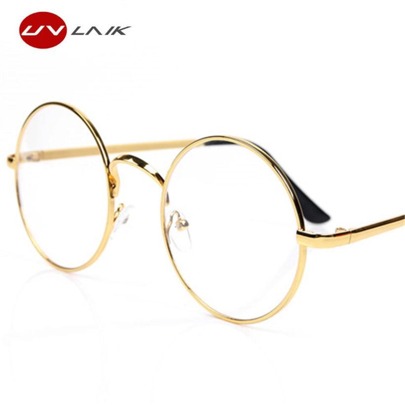 UVLAIK Redondos Óculos Armações De Óculos Para Óculos de Harry Potter Com Vidro Transparente Dos Homens Das Mulheres Óculos de Miopia Óptico Transparente